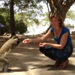 Linnea is feeding a monkey in Awasha
