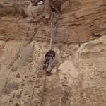climbing up to the Debre Damo Monastery church