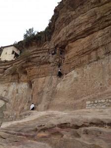 Monks climbing of Debre Damo